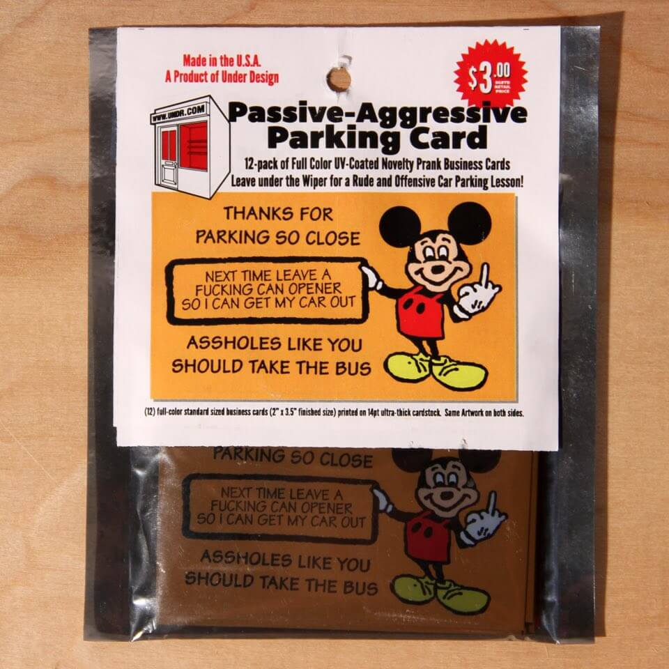 Passive Aggressive Parking Cards (12-Pack) at Under Design\'s Shop